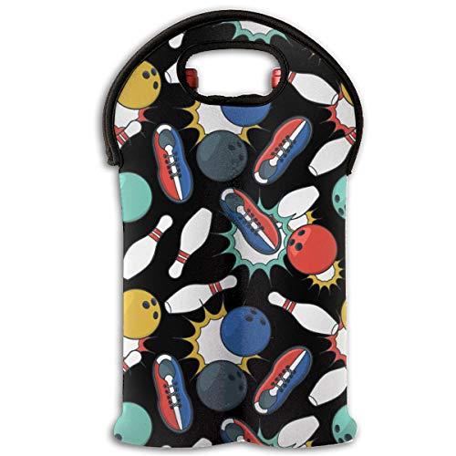 90ioup Bowlingschuhe 2 Flaschen Wein Reisetasche Tragetasche Tragetasche Halter Tasche, Polyester, weiß, Einheitsgröße