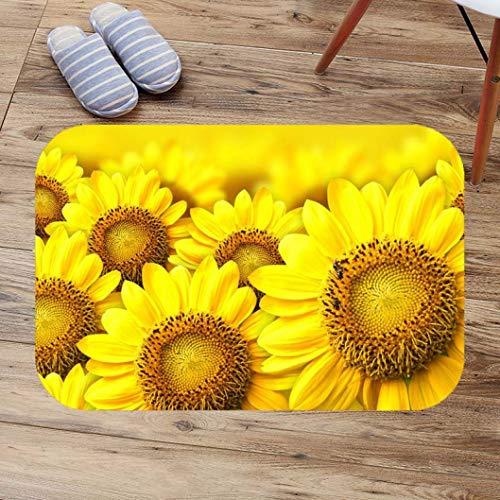 OMUSAKA Badematte Sonnenblumen Anti Slip Mehltau Weiche Toilette Teppich Küche Schlafzimmer Fußmatte Bad Teppich Tür Matte