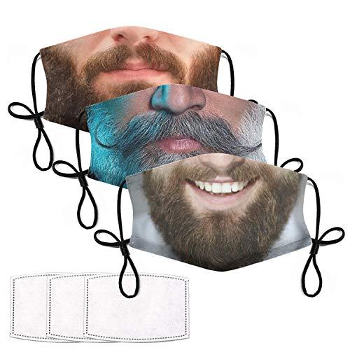 3 Pcs Funny Face Mask with Filters Washable Reusable Beard Mask Face Bandana Balaclava Cloth Cover for Men Women Teens