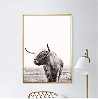 Animal Wall Art Black and White Cow Print and Poster Cattle Canvas Art Paintings for Living Room DecorYak Wall Decoration- 50X70cm no Frame