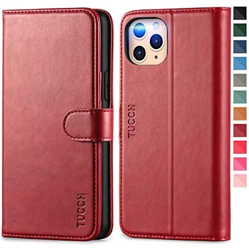 TUCCH Funda iPhone 11 Pro, Funda Protectora de Cuero de PU con Bloqueo RFID, Concha Interna de TPU, Auto Wake/Sleep, Cierre Magnético, Funda Tapa Libro para iPhone 11 Pro(5.8 Pulgadas), Rojo Oscuro