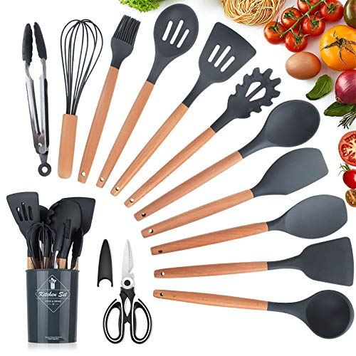Utensilios Cocina de Silicona,KagoLing 12 Piezas Juego de Utensilios de Cocina Resistentes al Calor y Antiadherentes con Mango de Madera para Utensilios + 1 Tijeras de cocina