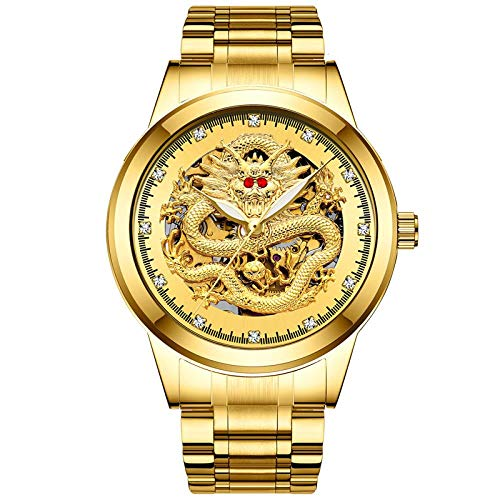 Armbanduhren,wasserdichte Vollautomatische Rubingelochte Mechanische Uhr Mit Drachenförmiger Durchdringender Vollautomatischer Uhr Goldbarren In Gold