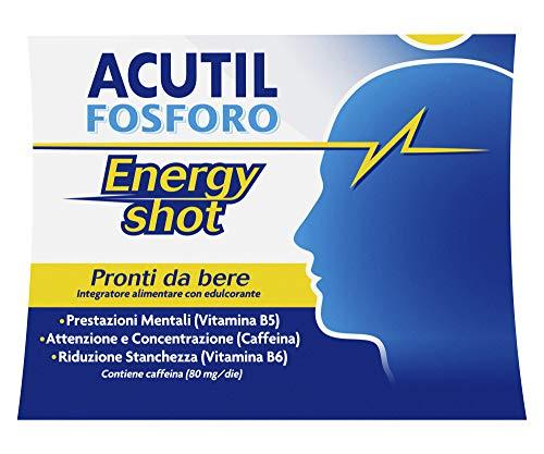 Acutil Fosforo Energy Shot, Integratore Alimentare per Memoria, Concentrazione e Energia con Caffeina e Vitamine B5 e B6, Riduc