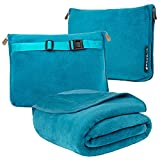 PAVILIA Travel Blanket and Pillow, Dual Zippers, Clip On Strap |Warm Soft Fleece 2-in-1 Combo Blanket Airplane, Camping, Car |Large Compact Blanket Set, Luggage Backpack Strap, 60 x 43 (Teal Blue)