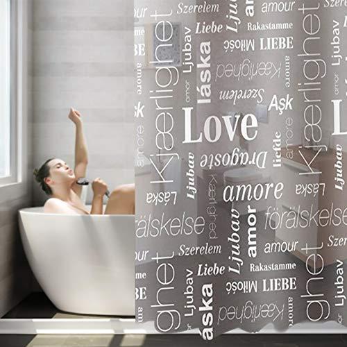 Duschvorhang,Duschvorhang Transparent 180x180cm,Englische Buchstaben Lieben Dicke wasserdichte Durchscheinende Badezimmervorhänge