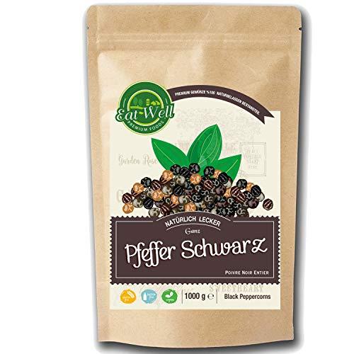 Eat Well Premium Foods - Pfeffer schwarzer, ganze • Pfefferkörner schwarz 1 kg |Schwarzer Pfeffer perfekt für die Pfeffermühle • schwarzer Pfeffer ungemahlen Premium Qualität