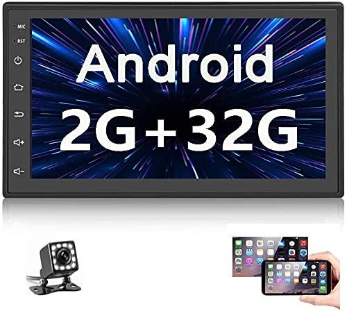 Android Autoradio mit Navi - Multimedia Bluetooth Autoradio Doppel Din mit 7'' HD Touchscreen unterstützt Freisprecheinrichtung / WIFI / Mirror Link für iOS & Android / FM,Autoradio mit Rückfahrkamera