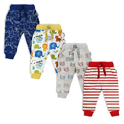 NammaBaby Baby Boy's and Baby Girl's Cotton Print Hem Full Length Regular Fit Lounge Thick Pyjama Pants (Multicolor, 12-18 Months) - Set of 4