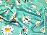 Seidiger Satin-Kleiderstoff, Blumenmuster, mintgrün,