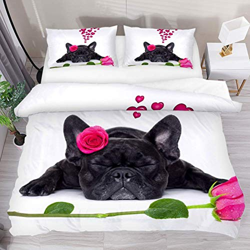 Josid Bettbezug-Set, Motiv: Französische Bulldogge, Welpe mit rosa Rosen, Bettwäsche-Sets mit Reißverschluss, 1 Bettbezug + 2 Kissenbezüge, Queen-Size-Größe, ohne Bettdecke