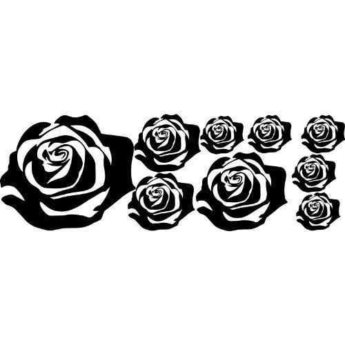 Set di 8rose, dimensioni 1x 23cm, 2x12cm, 1x16cm, 4x 7cm, colore a scelta 18colori in azione cofano auto tatto, auto, ornamento tribale tatto per auto, decalcomania, rose, fiori, Thatvinylplace Black