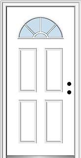 National Door Company Z000284L Fiberglass Smooth Primed, Left Hand in-Swing, Prehung Front Door, Wagon Wheel 1/4 Lite 4-Pa...