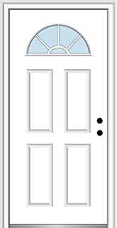 National Door Company Z000284L Fiberglass Smooth Primed, Left Hand in-Swing, Prehung Front Door, Wagon Wheel 1/4 Lite 4-Panel, Clear Glass, 34