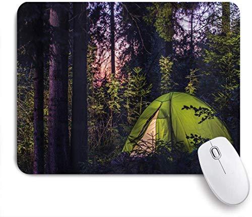 Benutzerdefiniertes Büro Mauspad,Camper Dark Forest am späten Abend mit Fichten und Purple Sky Outdoor Lifestyle Zelt,Anti-slip Rubber Base Gaming Mouse Pad Mat