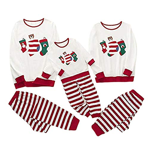 Completo Pigiama da Natale per Famiglia Padre Madre Bambino 2 Pezzi Top a Maniche Lunghe + Pantaloni a Strisce con Stampa di Babbo Natale Calze
