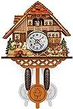 HIGHKAS Reloj de Pared Estilo Chalet con péndulo, Mini carillón de Cuco de Madera Hecho a Mano, decoración del hogar, Reloj de Cuco Reloj de la Selva Negra -
