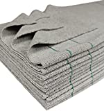 CleanAide Silver Cleaning Microfiber Towels Edgeless Cut Green Stripe 16 X 16 in 12 Pack