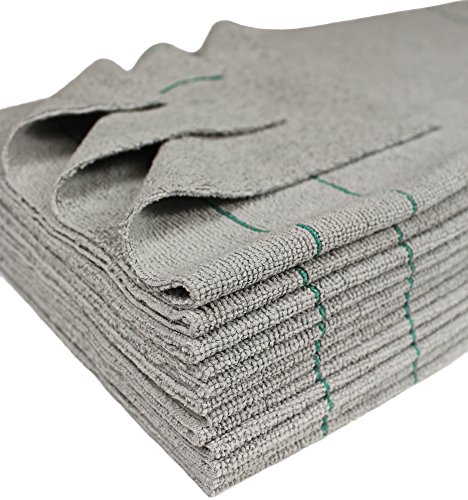 CleanAide Antimicrobial Silver Towels Edgeless Cut Green Stripe 16 X 16 in 12 Pack