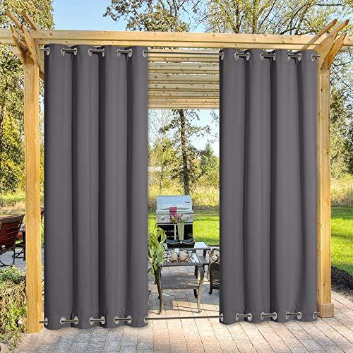 your zone home patio curtains NICETOWN Long Outdoor Curtain Sunblock with Silver Rustproof Grommets Top and Bottom, Thermal Insulated Blackout Outdoor Curtain / Drape Protect Privacy for Patio, Single Piece, W52 x L95, Grey