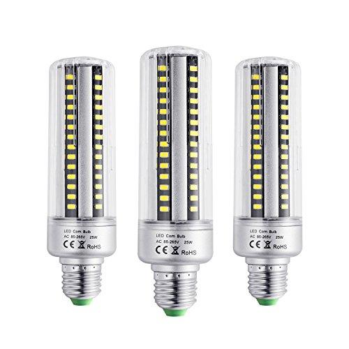 BOGAO Set di 3 lampadine E26/E27 con 96 LED 5736 SMD da 25 W, per sostituire lampadine a incandescenza, lampadine a risparmio energetico con involucro, da 2000LM, AC230V, non dimmerabili bianco