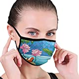 Mouth mask,Stained Glass With Asian Details Mosaic Lotus Flowers Sun Fish Oriental Work,Unisex Fashion Face Mask for Teens Men Women Outdoor Cycling Sport Ski in Winter