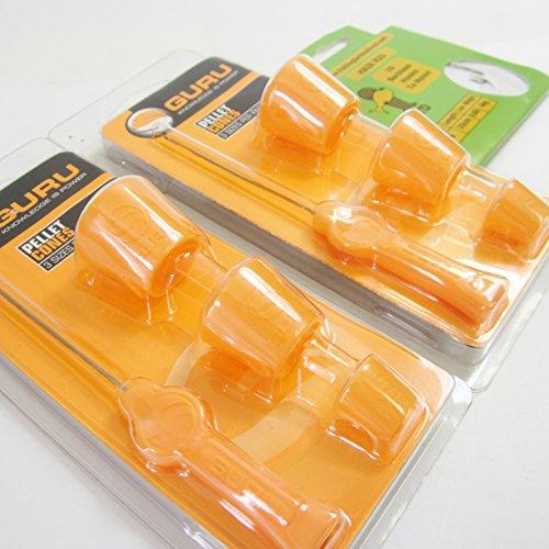 FTD–6(2Packungen von 3) von Guru Pellet Zapfen (3Verschiedene Größen) & 2 Köder Nadeln für Angeln Boden Köder oder Feed & 10FTD Haken an Nylon