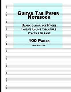 Guitar Tab Paper: Blue Cover ,Blank guitar tab paper Notebook featuring twelve 6-line tablature staves per page with a
