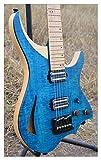 wsc wscheng® modello di stile per chitarra elettrica senza testa in stile viola colore blu 6mm fiamma acero top e collo in magazzino chitarra (size : 37 inches)