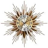 HYCy Reloj de Pared Sunburst - Reloj de Estrella de Metal Moderno silencioso - Funciona con Pilas - Retro Pop Color Quartz Relojes de Mediados de Siglo Reloj Decorativo de Pared Sala de