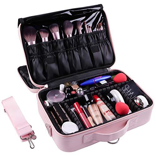 VASKER Makeup Case Large 3 Layers Makeup Bags Organizer Pink Professional Waterproof Makeup Box Portable Travel Cosmetic Bag Brush Holder with Adjustable Divider Shoulder Strap for Women Girl