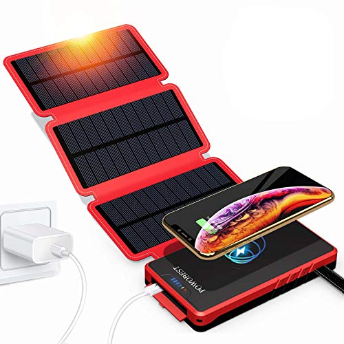 POWOBEST Solar Phone Charger,Solar Charger Power Bank,Outdoor Solar Cellphone Power Bank,High-Speed Charging,Portable Power Bank,20000mAh Wireless Portable Solar Power Bank,Solar Panel Charging(Red)