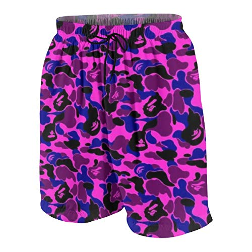 ~ Bape Camo Teen Beach Pants Slim Fit Swim Trunks Beach Half Pants for Teens Boys, Quick Dry Swimwear