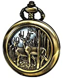 Vintage Deer Design for Antique Quartz Pocket Watch with Chain + Xmas Gifts Box