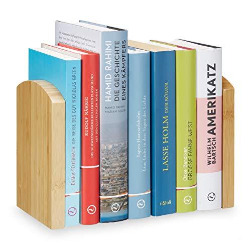 Relaxdays Buchstütze 2teilig, Buchtrenner für CDs, DVDs u. Bücher, Buchwinkel aus Bambus, HBT: 17x11,5x12,5 cm, natur