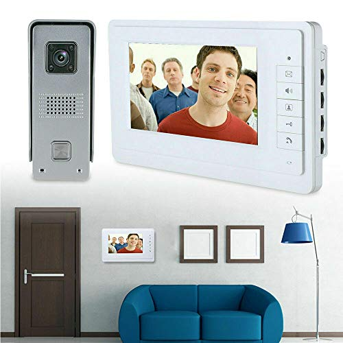 Video Türsprechanlage, 7 Zoll Video Türklingel mit Kamera, Nachtsicht, IR-Sensor, Wasserdichte Gegensprechanlage...
