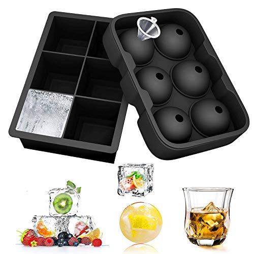 SUFUS Stampo Ghiaccio, Set di 2 Stampi per Cubetti Ghiaccio In Silicone 6 Palla di Ghiaccio 6 Cubo 100% Senza BPA per Stampo Ghiaccio Grande per Alcolici Cocktails,Whisky
