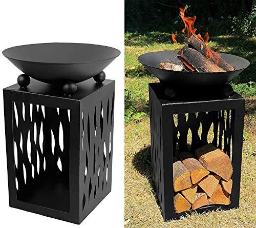 My-goodbuy24 Feuerschale Terrassenofen Metall - Höhe 63 cm - Gartenfeuer Grill Terrassenfeuer Korb Schale Feuerkorb Feuerstelle Gartendeko (Feuerschale 63cm)