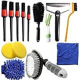 15 kit di spazzole per la pulizia dell'auto, strumenti per la pulizia degli interni dell'auto, regali da uomo tra cui spazzole per pneumatici, spazzole per dettagli, ecc.