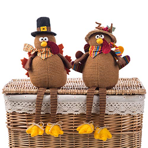 Ogrmar 2 Pack Stuffed Turkey Couple Doll Thanksgiving Tabletop Decoration Exquisite Handmade Turkey Doll Kit for Autumn Fall Thanksgiving Home Decor