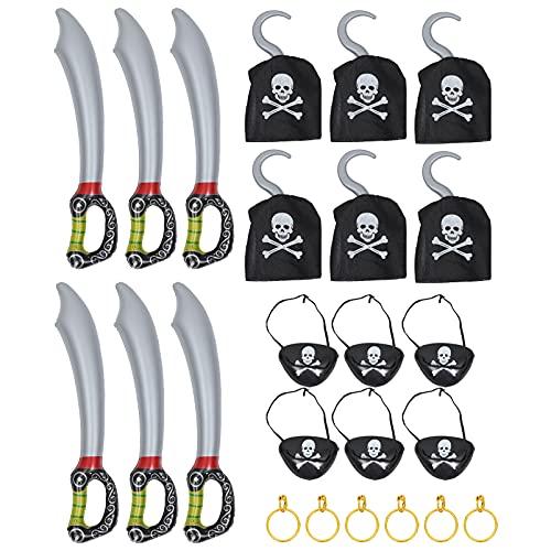 NUOBESTY 6 juegos de traje pirata juego pirata fiesta de cumpleaos pirata suministros para nios parches ojo pirata pendientes espadas accesorios de traje