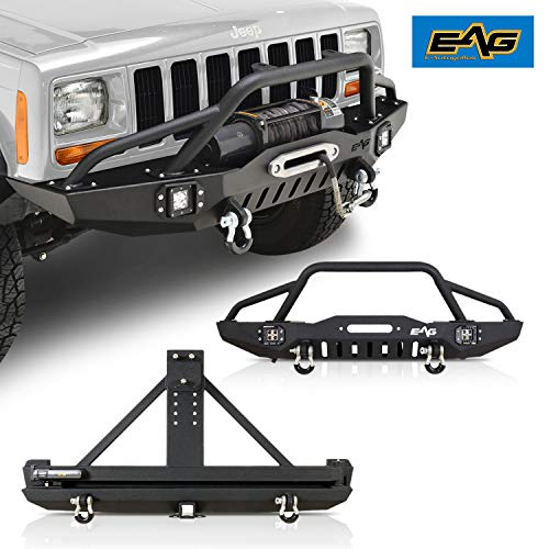 EAG Steel LED Front and Rear Bumper with Tire Carrier Fit for 84-01 Cherokee XJ/Comanche MJ