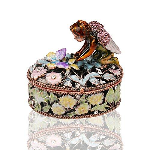 H&D Angel Trinket Box Metal Enameled Flower Figurine Collectable Wedding Jewelry Ring Holder Organizer