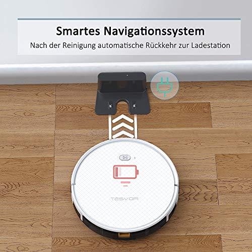Saugroboter,TESVOR X500pro Saug-Wischroboter 2 in 1 Intelligente Gyroskope-Navigation Reinigungsroboter 350ML elektronischer Wassertank Reinigungsanzeige in Echtzeit für Glattböden - 7