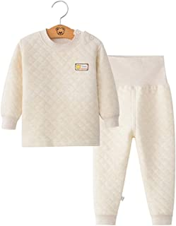 Fairy Baby 2Pcs Infant Toddler Baby Pajamas Set Thermal Underwear Thick Cotton Long Johns Size 12-18M (Coffee)