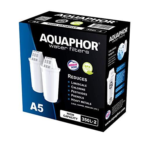 AQUAPHOR A5 Pack 2 Wasserfilterkartusche mit patentierter AQUALEN Technologie, weiß, 350 l