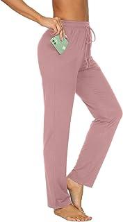TARSE Womens Drawstring Sweatpants Stretch Straight Leg Yoga Workout Lounge Pants Pockets Trousers(Pink,M)