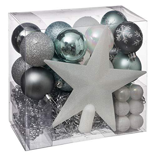 WEB2O Juego Déco Navidad–Kit 44Piezas para decoración árbol: Guirnaldas, Bolas y Estrella–Tema Color: Blanco, Gris Pizarra, Azul Celestine y Plata