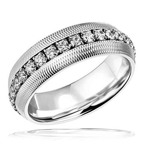 Goldmaid Damen-Ring zum Jahrestag Comfort Line 925 Sterlingsilber bombiert diamantiert 30 Zirkonia weiß