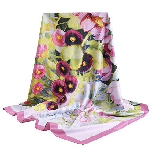 vimate 100% Mulberry Silk Scarfs, Women 35 Inch Square Silk Scarf for Hair with Gift Box package (Pattern 10)